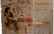 Bajorrelieve de Neferetiabet, con mesa y silla. Dinastía IV