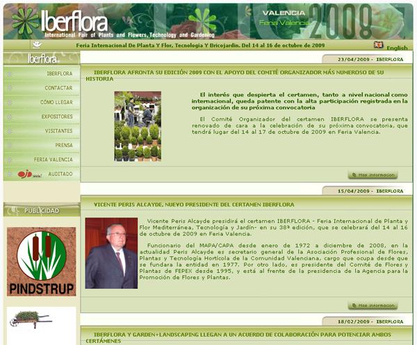 Captura de pantalla de la web de Iberflora 2009