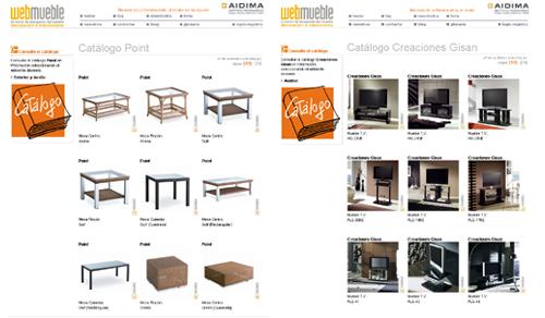 De izquierda a derecha: Catálogos de Point y Creaciones Gisan en Webmueble