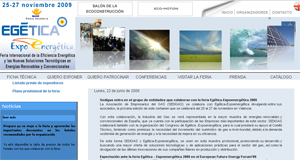 Captura d epantalla de la web de EGÉTICA - EXPOENERGÉTICA