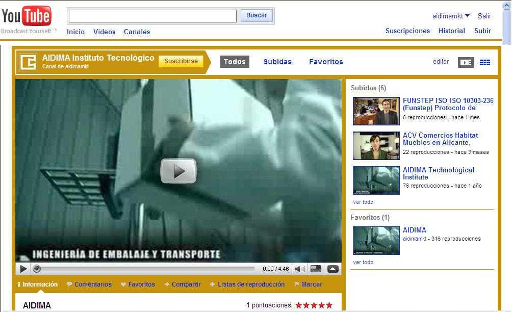 Captura del Canal del Instituto Tecnológico AIDIMA en YouTube