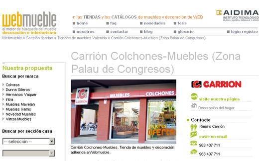Carrión colchones-muebles añade tres nuevas tiendas a Webmueble, disponiendo actualmente de un total de cuatro en el portal de búsqueda de muebles, decoración e interiorismo de España
