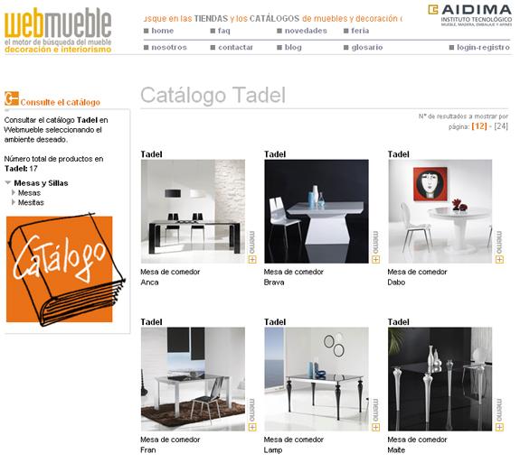 Catálogo de TADEL en Webmueble