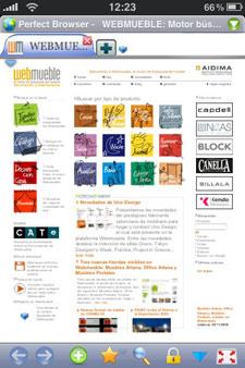 Webmueble visualizado en un iPhone