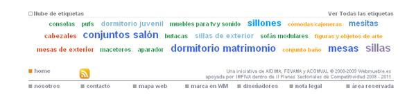 Nube de etiquetas principales en Webmueble