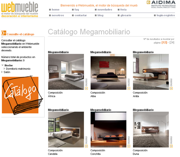Catálogo de Megamobiliario visible en Webmueble