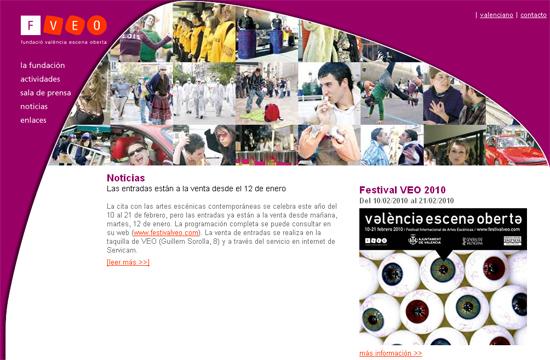 Página web de la Fundación València Escena Oberta (VEO)
