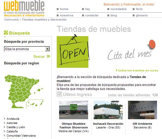 Nuevas tiendas en Webmueble: Inchausti Decoración y Olimpo Muebles Fashion Showroom