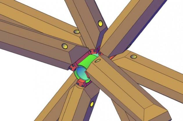 Simulación por ordenador de la unión del conector a 9 barras de madera en posiciones y ángulos arbitrarios