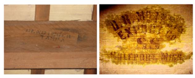 Detalle de inscripciones sobre la información de los exportadores, en dos elementos antiguos de mobila.
