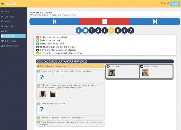 Contenidos del montaje de tapetas en formato JobCard en la plataforma TELLME