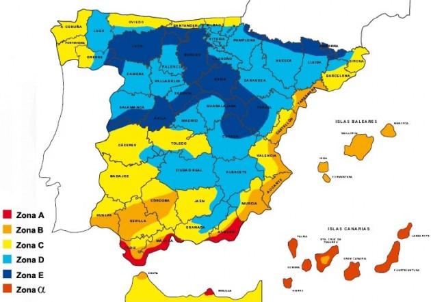 Zonas climáticas de España. Fuente: CT