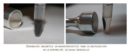 Separación magnética de nanocompuestos para su reutilización en la depuración de aguas residuales