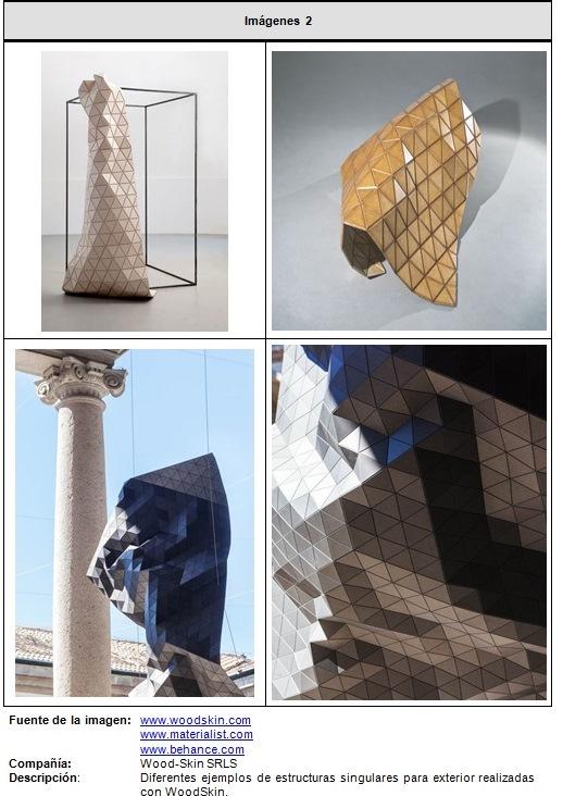 Fragmento de la ficha técnica correspondiente al material WOODSKIN, desarrollado por la empresa Wood-Skin