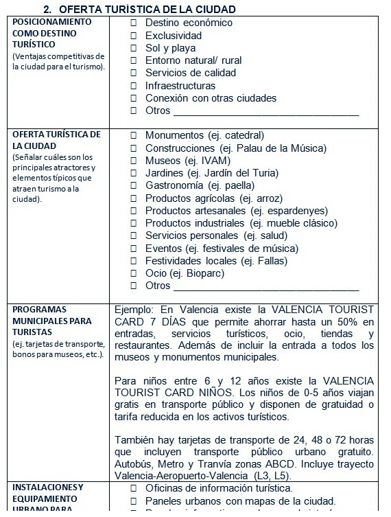 Una de las páginas del guión utilizado para las entrevistas con empresas municipales relacionadas con el turismo.