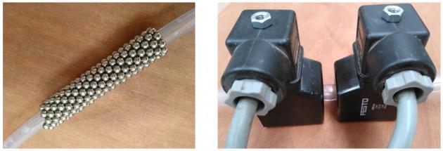 Evaluación de la recuperación de los nanocompuestos mediante imanes permanentes y electroimanes.