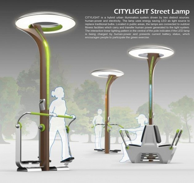 Imagen 1. Ejemplo de objetos urbanos inteligentes: farolas que producen luz con la energía que generan los ciudadanos al hacer ejercicio. Fuente: Green Dot Award