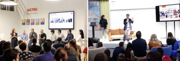 A la izquierda, la conferencia de la empresa ACTIU entorno al mueble inteligente, en la que participó María José Núñez, a la derecha en la imagen. En la otra fotografía, Vicente Sales durante la presentación del Cuaderno de Tendencias Hábitat 17/19.