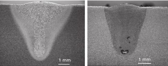 La imagen muestra uno de los posibles defectos de las uniones por láser.
