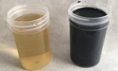 Sustancias húmicas (izquierda) extraídas del digestato procedente de la planta de biogás tras ser sometido a procesos de tratamiento específicos (derecha).