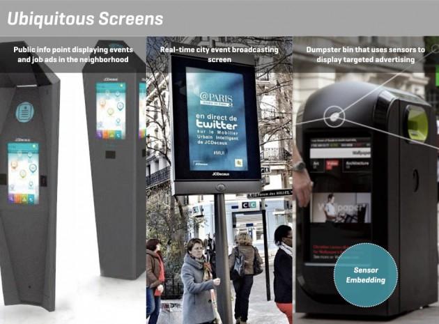 Imagen 2. Ejemplo de objetos urbanos inteligentes que emplean sensores, conexiones inalámbricas y pantallas táctiles. Fuente: YANG DESIGN.