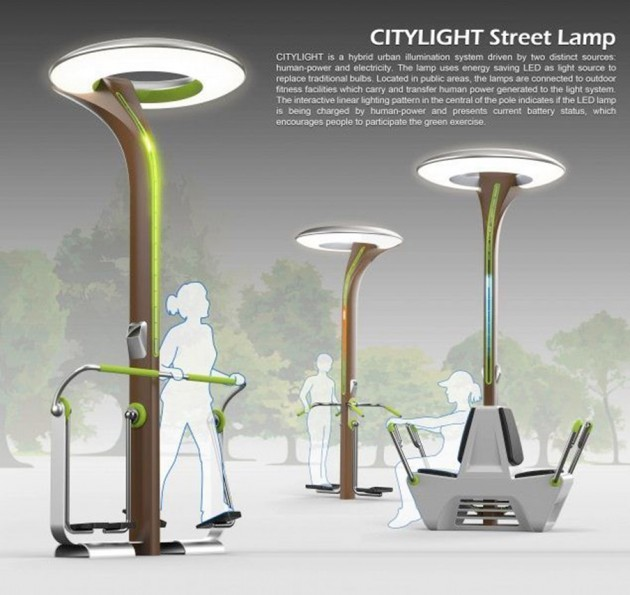 Imagen 1. Ejemplo de objetos urbanos inteligentes: farolas que producen luz con la energía que generan los ciudadanos al hacer ejercicio. Fuente: Green Dot Award.