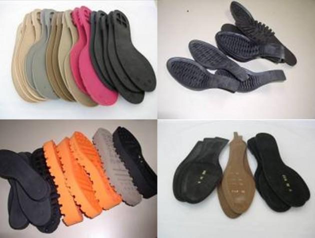 Distintos tipos de suelas de calzado.