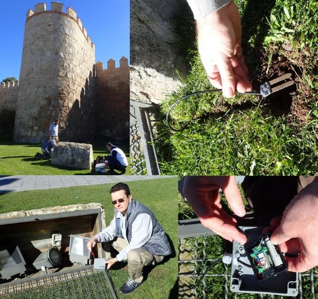 Instalación y configuración de un sensor de humedad del suelo en un jardín pegado a la muralla de Ávila. Se instalaron varios sensores en distintas zonas de la zona ajardinada. Con los datos que proporcionarán se analizará la efectividad del riego y se propondrán medidas para optimizar el consumo de agua.