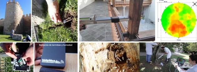 El equipo de AIDIMME durante la instalación de distintos sensores y dispositivos en la ciudad de Ávila, a la izda., y diferentes métodos de diagnóstico estructural de la madera de tecnología no destructiva utilizados por AIDIMME.
